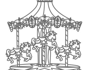 Carousel Cut File .SVG .DXF .PNG