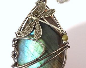 Necklace Pendant Labradorite silver wire wrapped with dragonfly
