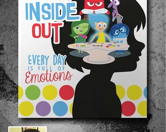 Customized Inside Out Poster, custom silhouette with Emotions on Console