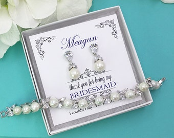 Bridesmaid Pearl Bridal Bracelet Set, Pearl earrings and bracelet, pear bridesmaid jewelry gift, Deborah Pearl Bracelet Set