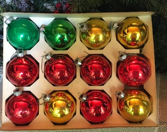 "Christmas Ornaments, Christmas, 2 1/4"", Vintage, 1960s, Vintage Ornaments, Ornaments, 12/ea, Tree Decor, Shiny Brite, Antique Ornaments"