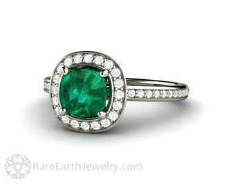 Cushion Cut Emerald Ring with Diamond Halo Engagement Ring in 14K Gold 18K Gold or Platinum May Birthstone
