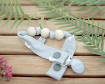 Chupetero-Wooden Baby Teether | Grey & Stars