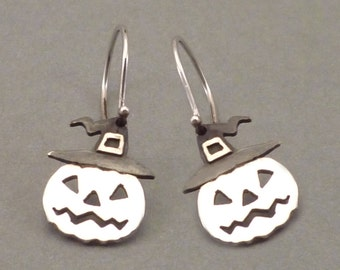 Pumpkin Earrings Halloween Jewelry jack-o-lantern Earrings Gift for Halloween Night Sterling Silver 925 Funny Cool Halloween Gift Idea