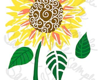 Sunflower Leaf Clip Art SVG