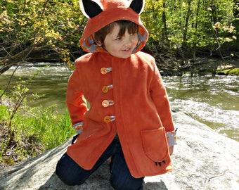 Fox Coat, Boys or Girls Winter Coat, Childrens Coat, Wild & Woolly Red Fox Jacket, Fleece Jacket for Kids