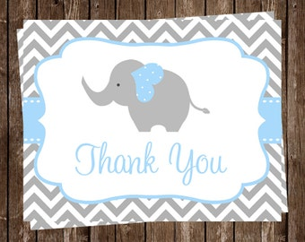 elephant thank you cards baby shower boys blue gray