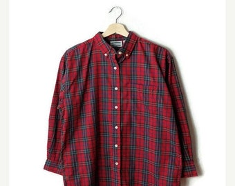 ON SALE Vintage Red tartan Plaid Long sleeve Cotton Blouse from 80's*