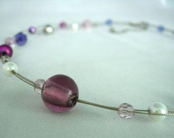 Multilayered Purple, White and Clear Acrylic and Glass Bead Necklace - 3 Strands - Nylon Coated Wire