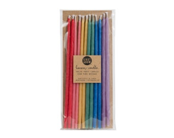 Tall Hand-dipped Beeswax Birthday Candles / Rainbow