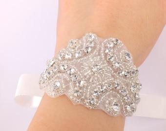 Jaipur - Rhinestone Flower and Ribbon Bridal Bracelet