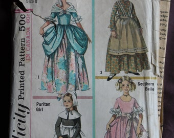 Girls Halloween Costumes Sewing Pattern Colonial/Marie Antoinette, Pioneer, Puritan and Southern Belle Simplicity 6205 Size 8 Breast 26