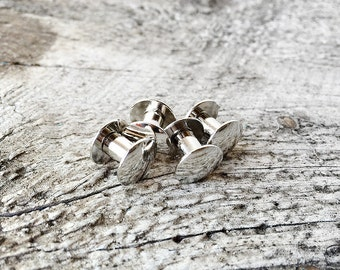 """Chicago Screws - Screw Posts for Leathercraft - 1/4"""" 6.3mm - Nickel Plated Steel - Silver - Rivets Conchos - Leather Craft Supplies"""