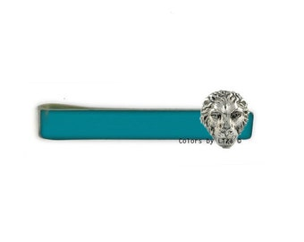 Lion Head Tie Bar Clip Inlaid in Teal Opaque Hand Painted Glossy Enamel Classic Tie Bar Accent Assorted Colors and Personalization Available