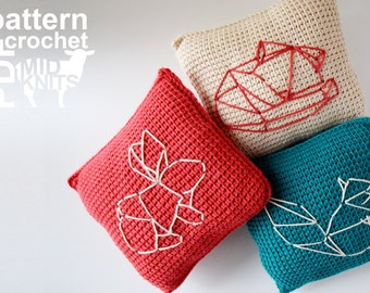 "DIY Crochet PATTERN - Learn To Tunisian Crochet Origami Woodland Animals Throw Pillows - 8"" Square Squirrel, Fox, Rabbit (2016009)"