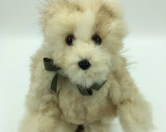 Teddy Bear, Wild Rabbit Fur upcycled, Vintage, Charming, One of a Kind, Fully Jointed, Handmade, Adorable, Small, Cream Colored, Wispy fur