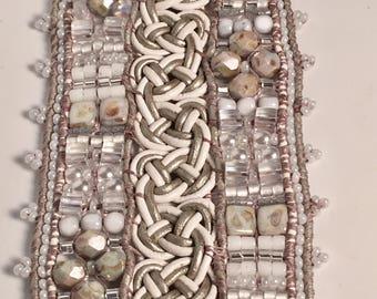 CRYSTAL LACE, Beaded Cuff Bracelet, Beaded Bracelet, Bracelet for the Bride, TwinklingOfAnEye, Wide Cuff Bracelet, White Bracelet, Bridal