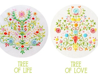 Embroidery Pattern Set: Tree of Life and Tree of Love PDF