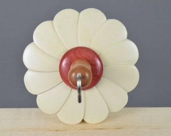 Carved flower midi top whorl drop spindle
