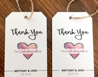 Customized Thank You Tags, Wedding Favor Tags