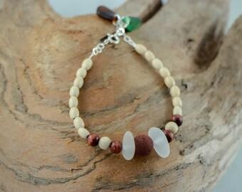 PEI White, Brown, and Green Aroma Seaglass Bracelet