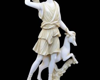 Diana Artemis Alabaster sculpture statue Ancient Greek Goddess of hunt patina