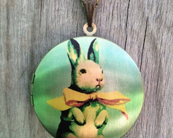 Bunny Rabbit With A Big Yellow Bow Vintage Gold Photo Locket Necklace w/ Yellow Enamel Bow Charm-Easter-Spring