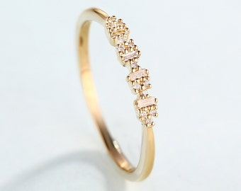 Promise Ring Art Deco Antique Unique Stacking Gold Wedding Band Diamond Baguette Women Thin Dainty Simple Delicate Anniversary Gift For Her