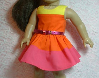 """Block Party Color Block Dress, 18"""" doll clothes, fits American Girl Doll"""