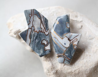 Piave, porcelain and gold earrings, glazed .Porcelain jewelry