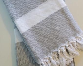 "Gray & White 100% Turkish Towel Cotton Bath Beach Hammam Towel Peshtemal Throw Foua Blanket  70""x39"""
