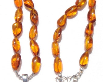 Baltic Amber Necklace, Sterling Silver Baltic Amber Dog Pendant, Golden Amber Gemstone, Amber Dog, Hand-knotted Amber Nuggets, Dog Necklace