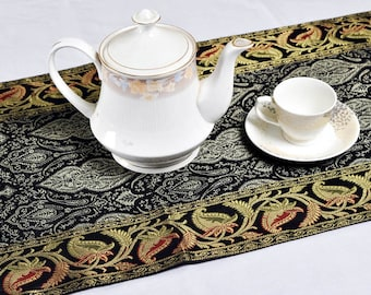 New black indian silk floral table runner