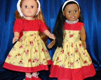 "Short Sleeve Dress with Shoes OR Sleeveless Maxi Dress with Belt & Headband; for American Girl Style 18"" Dolls! School or Dress Up Clothes"