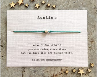 AUNTIE - Wish Bracelet Gift, Aunt, Aunty Add a Name & Custom options