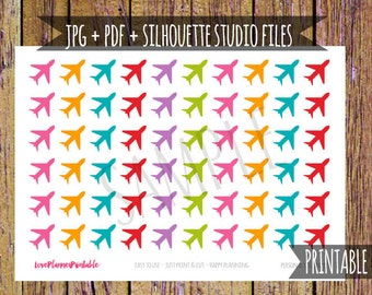 Plane Printable Planner Stickers Plane Stickers Icon Stickers Functional Stickers Cut File Travel Stickers Vacation Icon Planner Rainbow A51