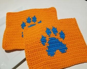 Pawprint Washcloths, Paw Print Washcloths, Blue and Orange Crocheted, Crochet Washcloths, Wash Cloths Dishcloths, Dish Cloths Pet Lover Gift