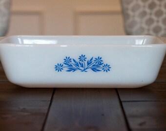 Vintage Fire King Milk Glass Blue Flower Casserole Dish