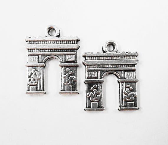 French Arch Charms 17x14mm Antique Silver Arc de Triomphe Pendants, Paris Charms, France Charms, Travel Charms, Metal Tourist Charms, 10pcs
