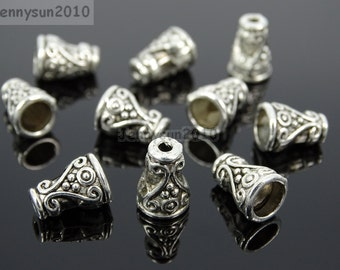 Tibetan Silver Cone Bead Cap Connector Metal Spacer Charm Beads Jewelry Design Findings Crafts