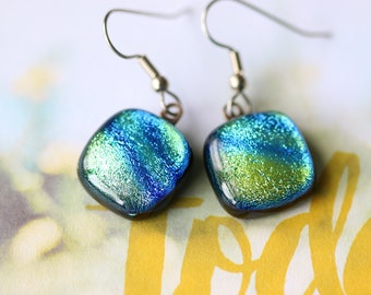 Green Blue Dichroic Fused Glass Earring, Drop Earrings, Dangle Earrings, E0158, GetGlassy