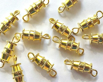 6 Gold Barrel Clasps - Screw Clasps - Gold Clasps - #TC0009