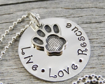 Ready to Ship - Hand Stamped Jewelry - Personalized Jewelry - Necklace For Pet Owner - Sterling Silver - Live Love Rescue - Paw print Charm