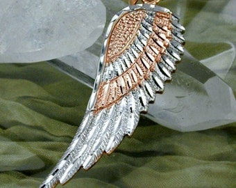 Angel wings pendant bicolor, 9K rose gold