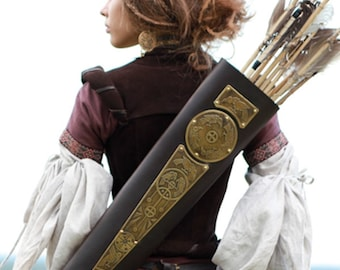"Archery Quiver Leather Bowman ""Archeress"" series etched brass"