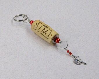 Red Fairy Moon Wine Cork Keychain Key Ring Fob #K123