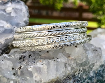 Beautiful Set of 4 Sterling Silver Bangles - Custom Sizes and Options, Collectible and Stackable