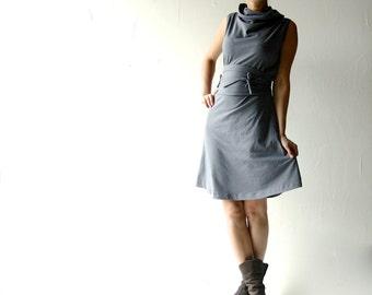 Tunic dress, Cotton dress, Grey dress, Winter dress, Cowl dress, sleeveless dress, Maternity clothes, Aline dress, Plus size dress, Layering