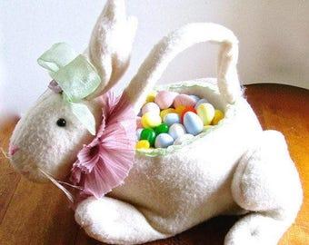 Vintage Stuffed Rabbit Basket Fabric Body 1980s
