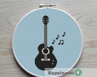 cross stitch pattern guitar, modern cross stitch, music,  PDF,  ** instant download**